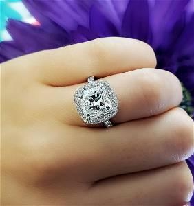 Natural 3.42 CTW Halo Cushion Cut Diamond Engagement