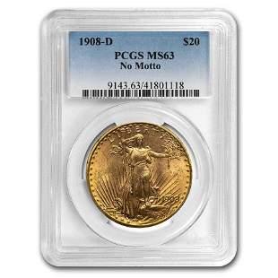 1908-D $20 Saint-Gaudens Gold No Motto MS-63 PCGS