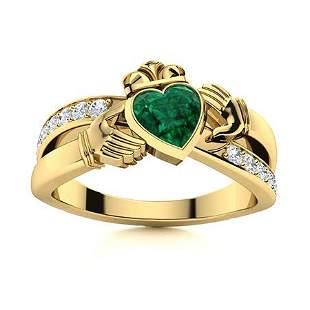 Natural 1.77 CTW Emerald & Diamond Engagement Ring 18K