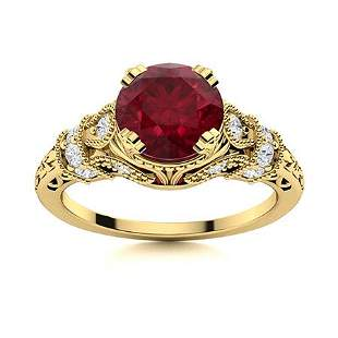 Natural 1.96 CTW Ruby & Diamond Engagement Ring 18K