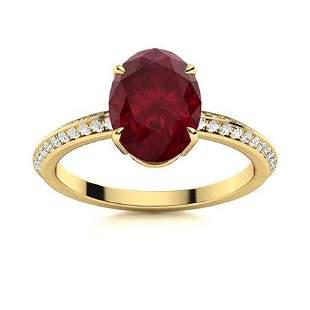 Natural 3.31 CTW Ruby & Diamond Engagement Ring 18K