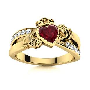 Natural 1.53 CTW Ruby & Diamond Engagement Ring 18K