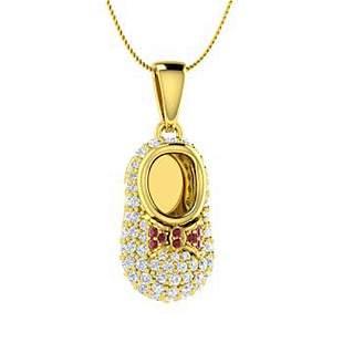 0.56 ctw Ruby & Diamond Necklace 18K Yellow Gold