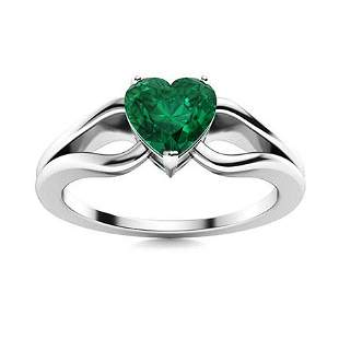 Natural 0.43 CTW Emerald Solitaire Ring 14K White Gold