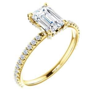 Natural 1.22 CTW Diamond Basket Emerald Cut Diamond