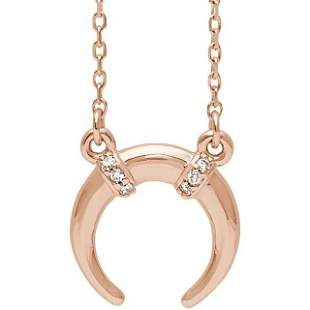 Natural 0.04 CTW Crescent Moon Diamond Necklace 18KT