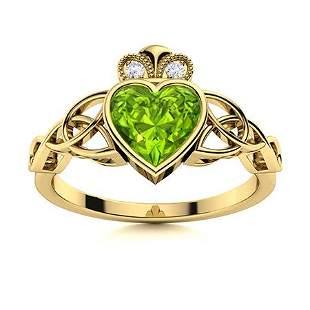 Natural 0.48 CTW Peridot & Diamond Engagement Ring 18K