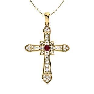 0.63 ctw Ruby & Diamond Necklace 18K Yellow Gold