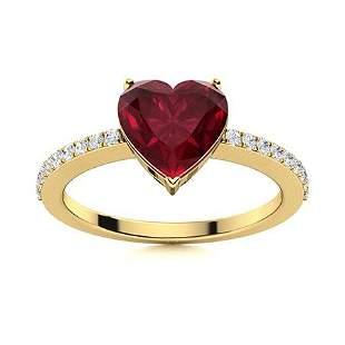 Natural 0.89 CTW Ruby & Diamond Engagement Ring 18K