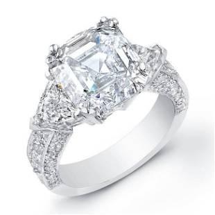 Natural 2.42 CTW Asscher Cut with Trillion Cut Diamond