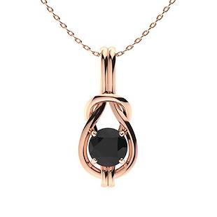 1.02 ctw Black Diamond Necklace 14K Rose Gold