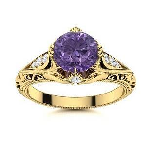 Natural 1.33 CTW Iolite & Diamond Engagement Ring 14K