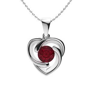 1.62 ctw Ruby Necklace 18K White Gold