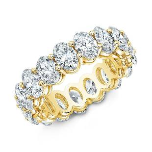 Natural 4.02 CTW Oval Cut Diamond Eternity Ring 18KT