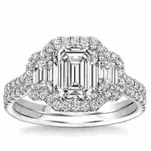 Natural 2.55 CT Diamond Bridal Ring 18K White Gold