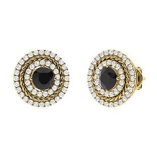 1.68 CTW Black Diamond Halo Earrings 14K Yellow Gold