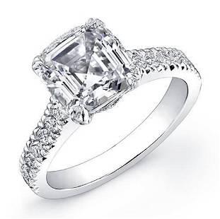 Natural 1.92 CTW Asscher Cut Diamond Engagement Ring