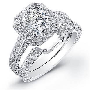 Natural 3.37 CTW Halo Cushion Cut Diamond Engagement