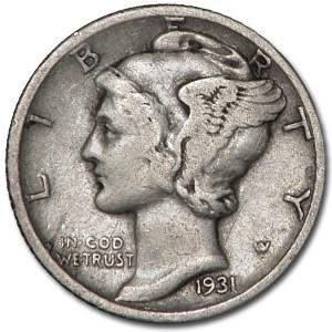 1931-D Mercury Dime VF