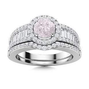 Natural 1.39 CTW Rose Quartz & Diamond Engagement Ring