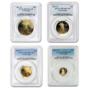 2007-W 4-Coin Proof American Gold Eagle Set PR-70 PCGS