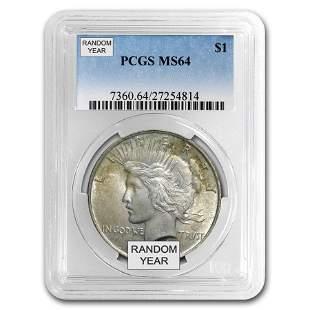 1922-1925 Peace Dollars MS-64 PCGS/NGC (Toned Obv/Rev)