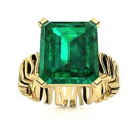 Natural 6.02 CTW Emerald Solitaire Ring 14K Yellow Gold
