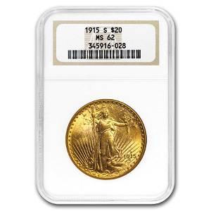 1915-S $20 Saint-Gaudens Gold Double Eagle MS-62 NGC