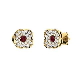 0.51 CTW Ruby Halo Earrings 18K Yellow Gold