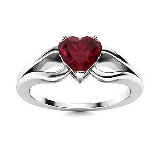 Natural 0.59 CTW Ruby Solitaire Ring 18K White Gold