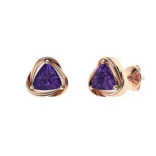 1.96 CTW Amethyst Studs Earrings 18K Rose Gold