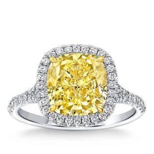 Natural 3.42 CT Diamond Bridal Ring 18K White Gold