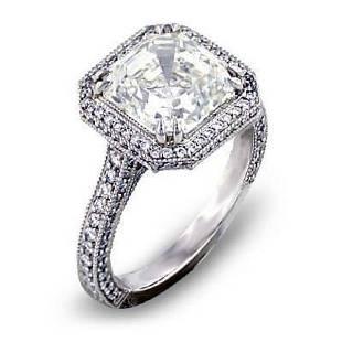 Natural 3.97 CTW Micro Pave Halo Asscher Cut Diamond