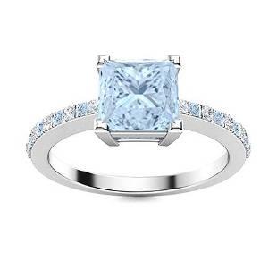 Natural 0.68 CTW Aquamarine & Diamond Engagement Ring