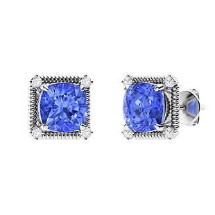 3.08 CTW Ceylon Sapphire & Diamond Halo Earrings 18K