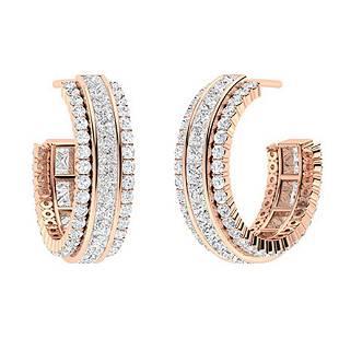 3.88 CTW White Topaz & Diamond Hoops Earrings 14K Rose