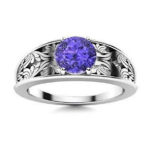 Natural 1.42 CTW Tanzanite Solitaire Ring 18K White