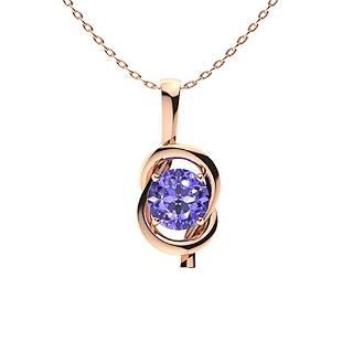 0.62 ctw Tanzanite Necklace 18K Rose Gold