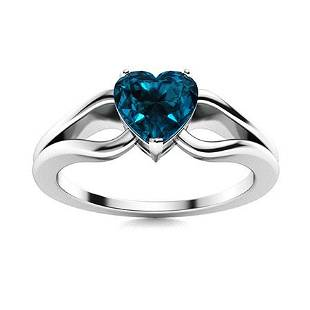 Natural 1.55 CTW Topaz Solitaire Ring 14K White Gold