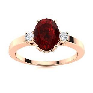 Natural 1.40 CTW Garnet & Diamond Engagement Ring 14K