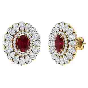 7.19 CTW Ruby Halo Earrings 18K Yellow Gold