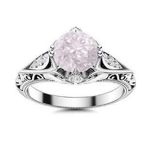 Natural 1.17 CTW Rose Quartz & Diamond Engagement Ring