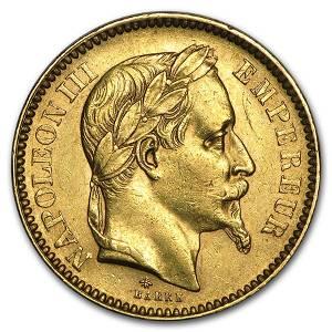 1861-1870 France Gold 20 Francs Napoleon III Laureate