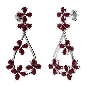 12.24 CTW Ruby Chandelier Earrings 18K White Gold