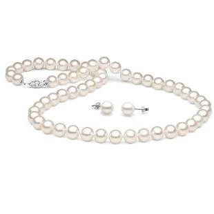 White Freshwater Pearl 2-Piece Necklace and Earring