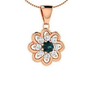 0.29 ctw White & Blue Diamond Necklace 14K Rose Gold