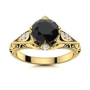 Natural 0.94 CTW Black & White Diamond Engagement Ring