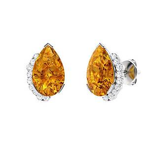 3.696 CTW Citrine Halo Earrings 14K White Gold