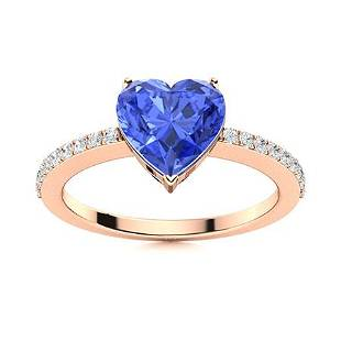 Natural 1.51 CTW Ceylon Sapphire & Diamond Engagement