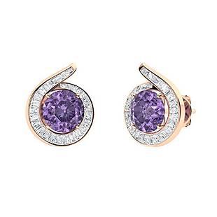 1.92 CTW Iolite & Diamond Halo Earrings 18K Rose Gold